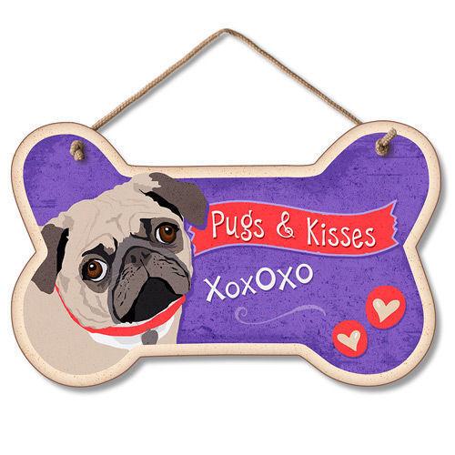 Pugs /& Kisses XOXO NEW USA Wood Dog Bone Shape Sign w//Rope PUG