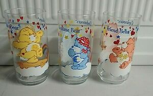 SET-OF-3-CARE-BEARS-AMERICAN-GREETINGS-1984-TUMBLER-GLASSES-5-5-TALL