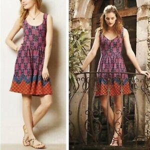 Maeve-Anthropologie-Amapola-Pink-Fit-Flare-Dress-Tribal-Front-Zip-Pockets-Sz-6P