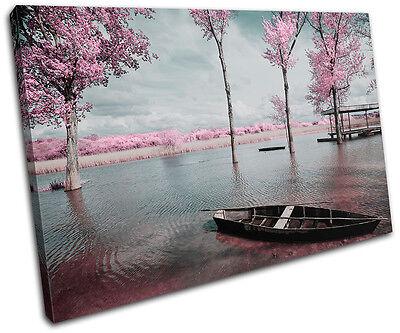 Tree Blossom Pink Sunset Seascape SINGLE CANVAS WALL ART Picture Print VA