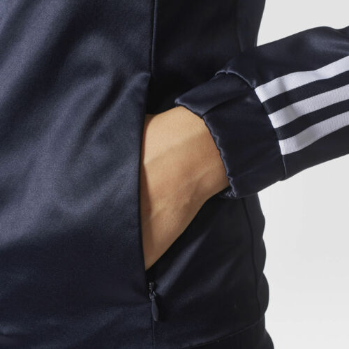 732 Adidas Originals W Satin Look Navy Jacket Size UK 6 8 New