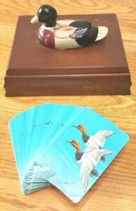 VTG Ceramic Duck Wood Box Card Holder ONE Deck Cards Price 1981 Hunting Mallard