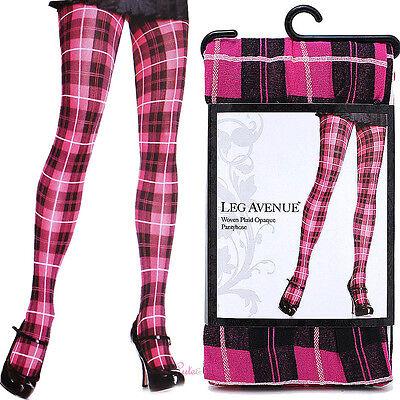 Leg Avenue Pink Black Plaid Opaque Pantyhose Stockings Socks Woven Plaid