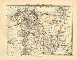 Details about 1892 VICTORIAN MAP ~ LOWER EGYPT SINAI RIVER NILE BAHAYRA  ALEXANDRIA PENINSULA
