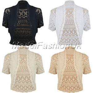 New-Ladies-Crochet-Knit-Bolero-Shrug-Womens-Short-Sleeve-Cardigan-Top-Size-16-20