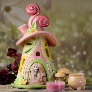 Windlicht Häuschen ca.19 cm hoch - rosa und grün - Honiglicht Keramik