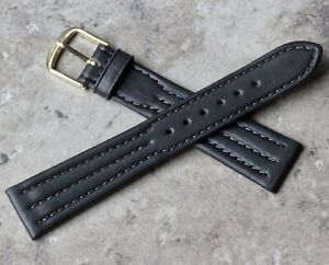 Charcoal-Grey-3X-stitched-19mm-Genuine-Leather-vintage-watch-strap-1960s-70s-NOS