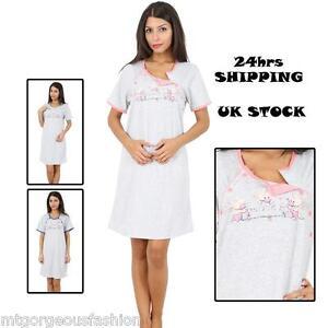 Maternity-Pregnancy-Breastfeeding-Nursing-Nightdress-S-M-L-XL-UK-size-8-10-12-14