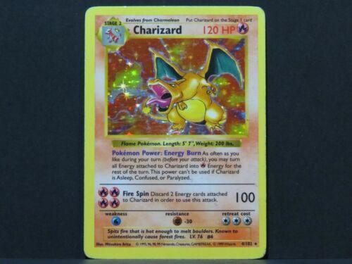 Lightly Played Shadowless Charizard 4//102 Holo Base Set Pokemon Card