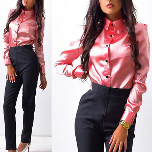 Women Silk satin Blouse button Lapel Shirts Office Elegant High Quality Tops jx