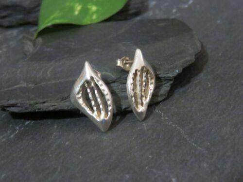 Hübsche 925 Silber Ohrringe Abstrakt Vintage Retro Kerben Muster Ohrstecker Top
