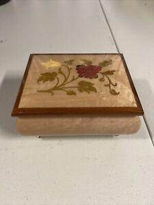 The San Francisco Music Box Company Wood JEWELRY MUSICAL Box Trinket Floral