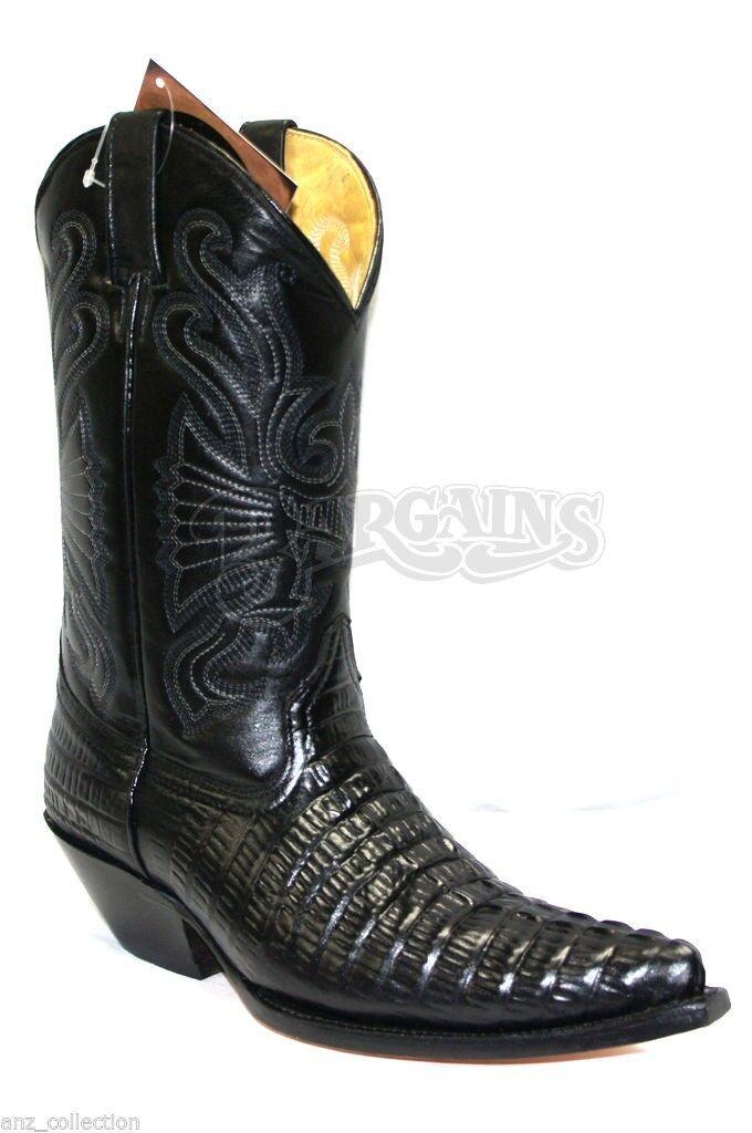 Grinders Carolina CROC Cuero Negro botas de vaquero occidental de inicio de cola de cocodrilo