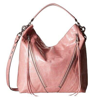 REBECCA MINKOFF Moto Hobo Glossy Distressed Leather Crossbody Bag Rosa Pink NWT