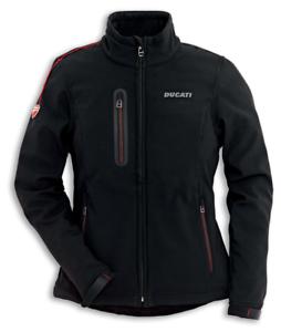 Ducati-Windproof-Windstopper-Damen-Jacke-Schwarz-mit-roten-Ziernaehten-Groesse-S