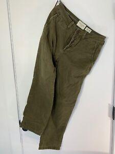 Para Hombre Abercrombie Fitch Franela Verde Bosque Forrado Pantalones Chinos Talla 31x30 Ebay