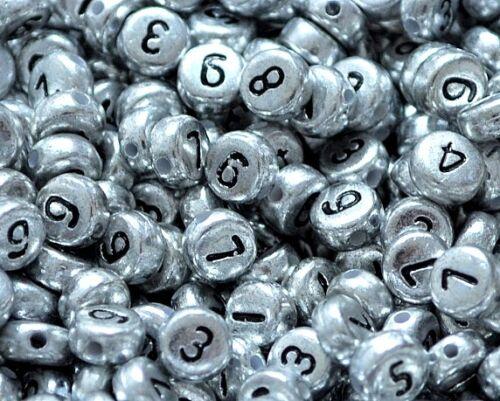 100 stück flach rund silber nummer perlen 7mm