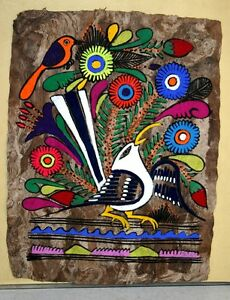 Image Is Loading Vintage Painting Bright Colorful Flowers Amp Birds On