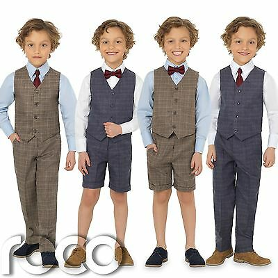 Boys Blue Check Waistcoat Boys Wedding Suits Boys Chambray Suit Page Boy Suit