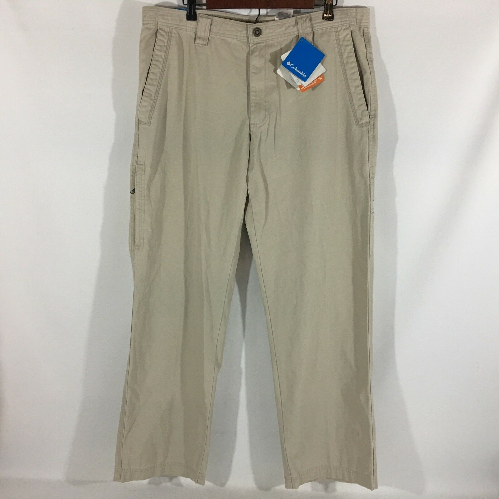 Columbia 100% Cotton Stone Khaki Omni-Shield Men's Pants Waist 36 Inseam 32