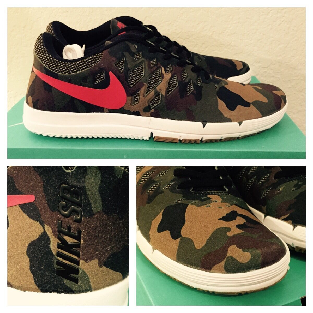 Nike Free SB QS 'Camo' Fortress verde/Gym Rosso - Size 10 - 749677 360 - NIB DS