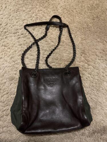 VIntage Prada Medium Leather Bag Brown Shoulder B… - image 1