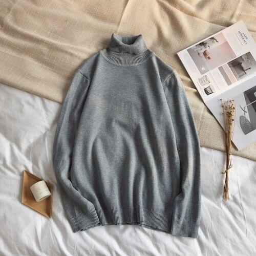 Men Slim Warm Knit High Neck Pullover Jumper Sweater Top Turtleneck Solid Winter