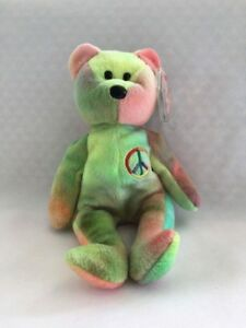 37dd5d0b27b Rare TY Beanie Baby Peace Bear With Tag   Errors Retired