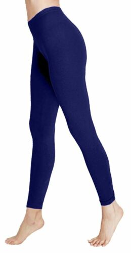 Full Ankle Length Plain Cotton Leggings Womens Soft Relax Fit Stretchy Skinny