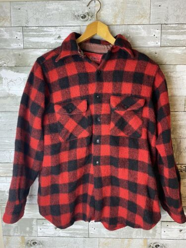1940s Red And Black Buffalo Check Wool Jacket Reli