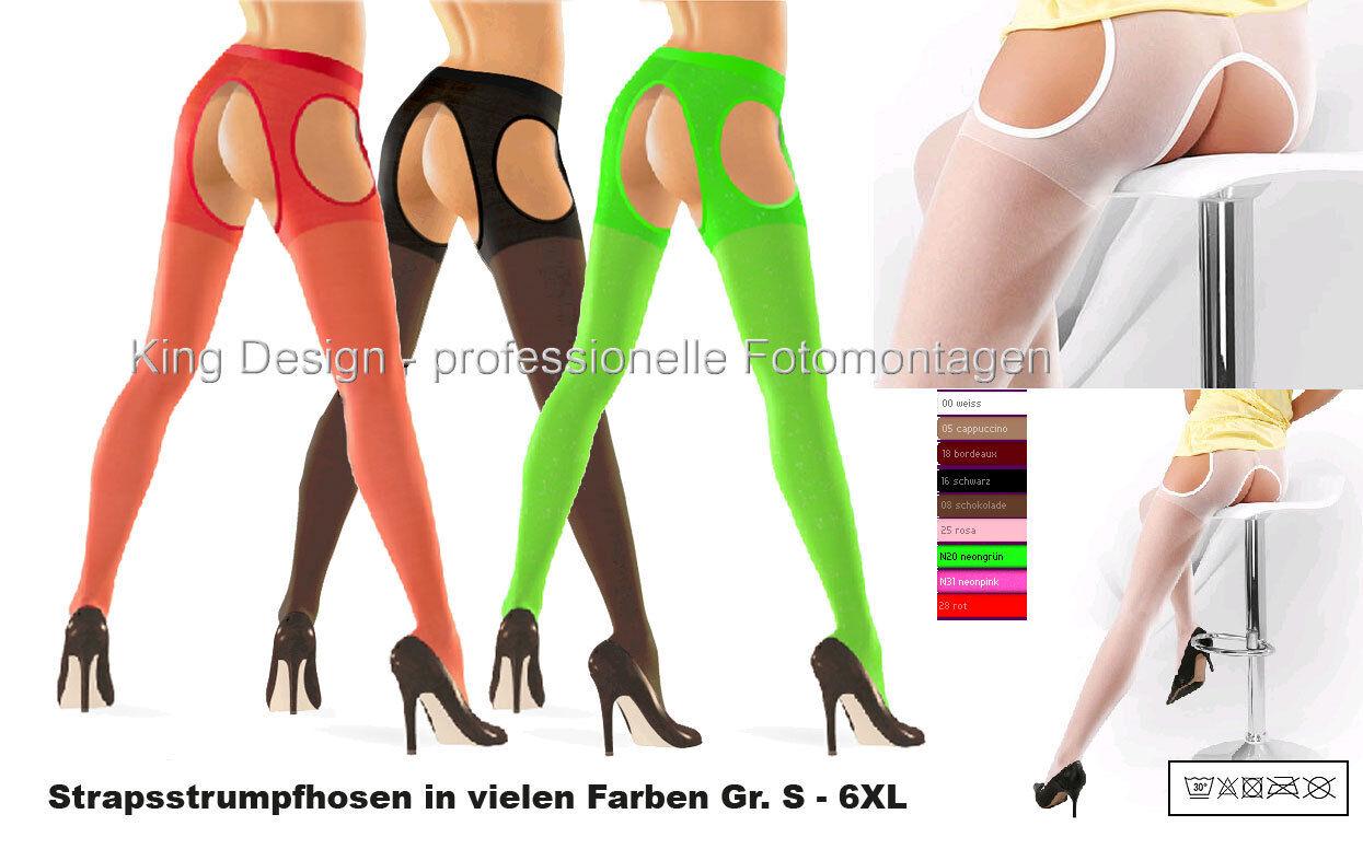 Straps-Strumpfhose - Gr. S - 6XL - in vielen Farben (auch NEON), 20 DEN/30 DEN