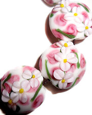 Handmade Lampwork Glass White Beads Pink Flowers 20 mm Lentil 4 Beads (#a11sil)