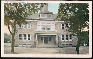 MILFORD-PA-High-School-Vintage-WB-Postcard-Early-Old-Town-View-Pennsylvania-PC