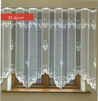 Jacquard net curtain with curtain tape WHITE 160 x 300cm