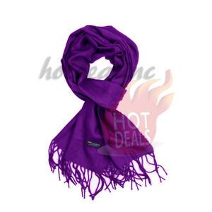 7c2526af7 Women unisex 100% CASHMERE Soft Plain solid Dark Purple Wool Scarf ...
