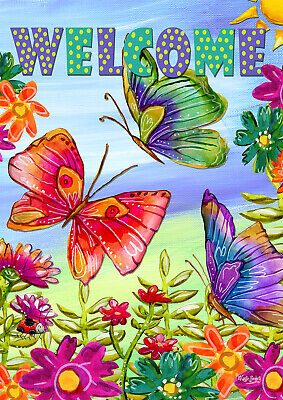 Toland Welcome Butterfly Field 28 X 40 Floral Spring Greeting House Flag Ebay