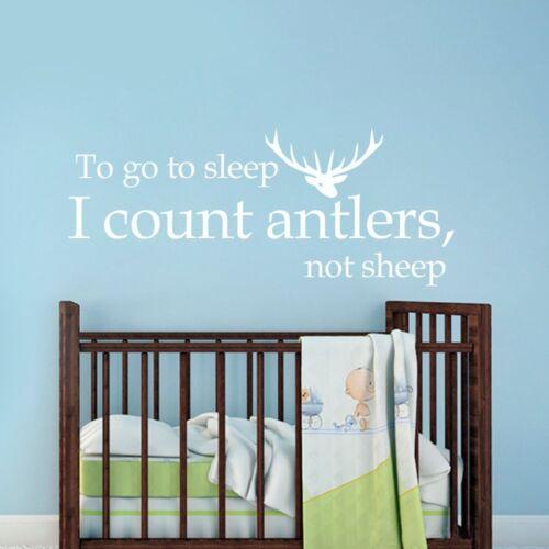 Go to Sleep Antler Inspired Wall Decal Hunting Baby Kids Room Saying Vinyl Decor