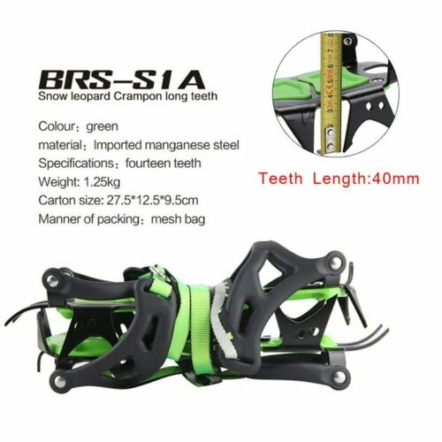 BRS Professional 14 Teeth Ice Crampons Snow Boot Shoes Covers Steel Ice Grippers