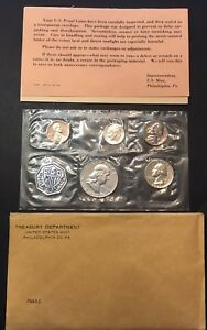 Excellent-1962-P-Uncirculated-U-S-Mint-Proof-5-Coin-Set-w-Envelope-and-COA