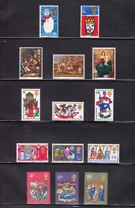 UK-NEVER-HINGED-ALL-CHRISTMASES-PRIOR-1971-Pre-Decimal-1966-1970