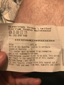 Bunnings store credit $459 sell $380