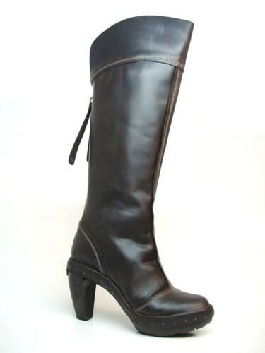 Platform Leather Dark Uk Clog Brown Rrp London Eur £130 Boots 37 Fly Heels 4 xYaBq4n5