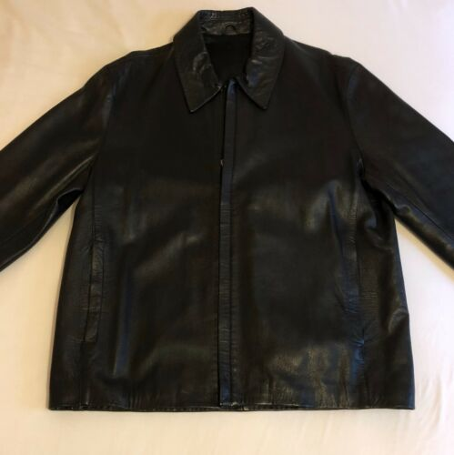 Size Jacket Black Mens Leather Large aqAB4w