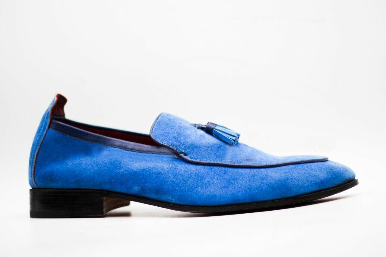 Mens Handmade schuhe Blau Suede Loafers Slip On Moccasin Tassels Formal Wear Stiefel