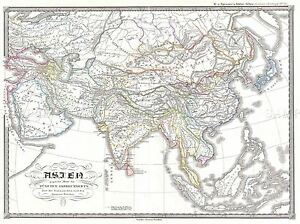 GEOGRAPHY-MAP-ILLUSTRATED-OLD-SPRUNER-ASIA-5TH-CENTURY-SASSANID-PRINT-BB4479A