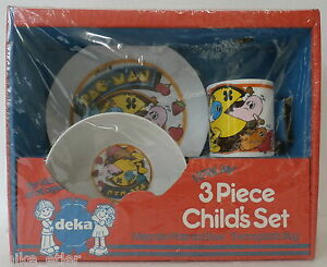 Pac-Man-3-Piece-Child-039-s-Set-Plate-Bowl-Cup-Deka-1982-New-in-Package