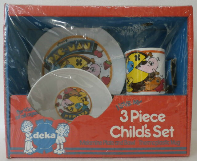 Pac-Man 3 Piece Child's Set (Plate, Bowl, Cup) (Deka, 1982) New in Package