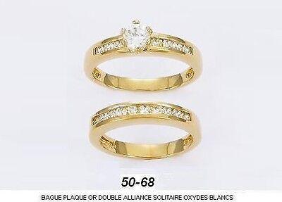 Dolly-Bijoux Alliance Solitaire T56 Diamant Cz 5mm Plaqué Or 18K 5 Microns
