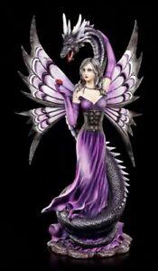 Elfen Figur mit Seeschlange - Guardian's Embrace - Drache Fee Fairy lila