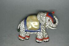 Vintage Crown Trifari elephant red blue enamel rhinestones pearl belly Brooch